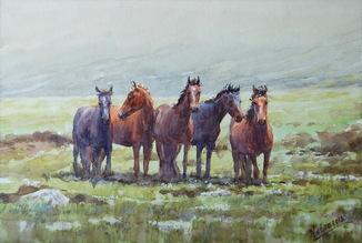 """Картина """"Пятерка лошадей"""". Микитенко Виктор"""