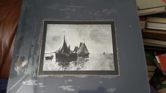 Старинная картина морской пейзаж на стекле