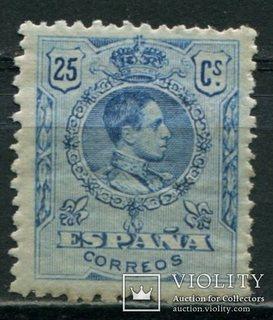 1909 Испания Король Альфонсо XIII 25c голубой контр номер
