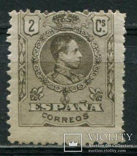 1909 Испания Король Альфонсо XIII 2c голубой контр номер