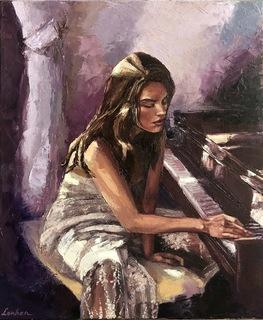 Меланхолия, 50*60 См (девушка у фортепиано)
