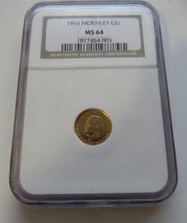 """1 $ 1916 год США юбилейная """"MCINLEY"""" золото 1,66 грамм 900`"""
