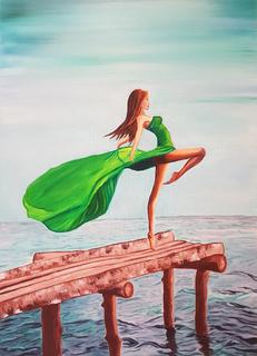 """Картина маслом """"Девушка в океанской стихии"""" размер 50/70 см"""