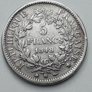 5 франков, Франция, 1848 год, BВ, Геркулес, серебро 900-й пробы 25 грамм