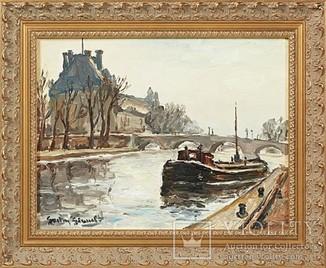 """Картина. """"Баржа на канале"""". Франция."""