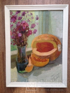 "Картина ""Цветы и тыква"""