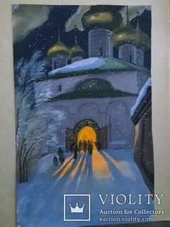 """Вечірня молитва"". Гуаш.  1995,  засл. худ. України."