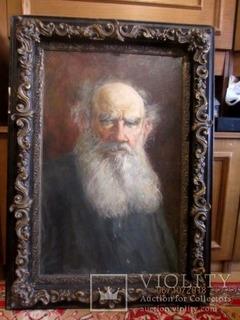 """""""Tолстой""""   портрет холст масло Подпись художника."""