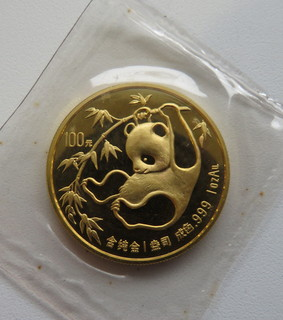 100 юаней 1985 год КИТАЙ золото 31,1 грамм 999,9`