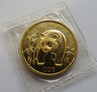 100 юаней 1986 год КИТАЙ золото 31,1 грамм 999,9`