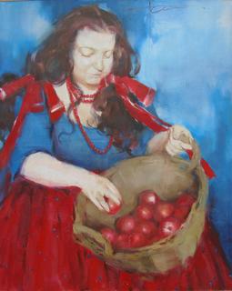 """Голубятникова Я.В. """"Девушка с корзиной яблок"""" 100см х 80см"""