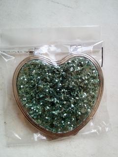Зеркало розкладное с блестками 5см серце