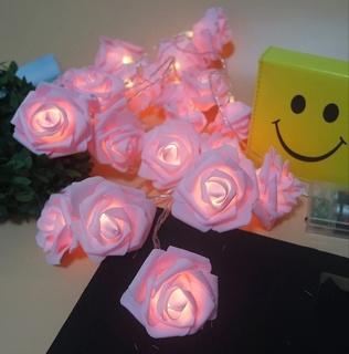 Гирлянда розовые Розы на батарейках. Светодиодная переносная. Автономная