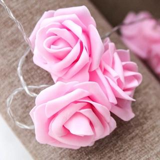 Гирлянда розовые Розы на батарейках. 3 метра. Светодиодная переносная. Автономная