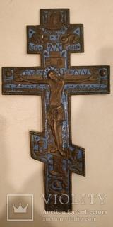 Большой крест с молитвой, в эмалях