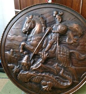 Чеканка, щит , Англия, Орден Подвязки, святой Джордж, Георгий Победоносец