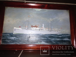 Картина-корабль в море. Норвегия.