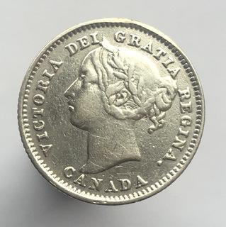 Канада 10 центов (центів) 1885 г. Редкий год.