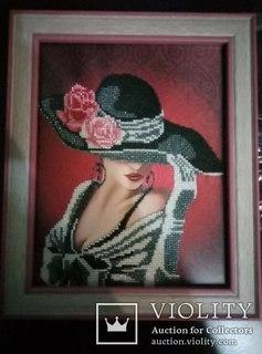 """Вышитая картина Дама в шляпе, """"Очаровательность"""""""