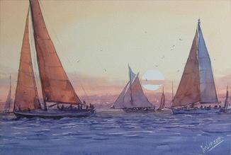 """Картина """"Лодки, закат"""". Микитенко Виктор"""
