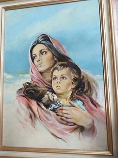 Портрет, Мать с ребенком, масло