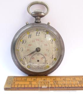 Карманные часы с будильником в стальном корпусе .