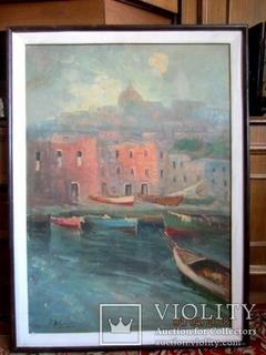 Морской пейзаж с лодки, 1973 подпись художника