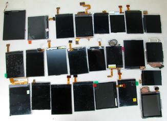 Много разных экранов дисплеев и сенсоров для мобильных телефонов и смартофонов
