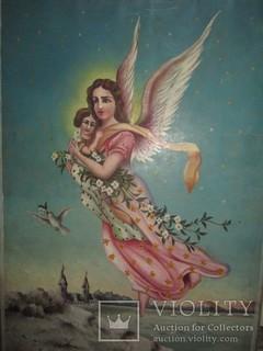 "Старинная Картина ""Ангел"", кон. XIX- нач. ХХ века"
