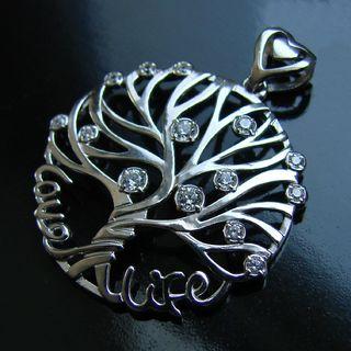 Средний кулон, в форме дерева( LIFE LOVE)  Серебро 925