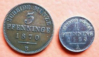 3 пфеннинга 1870гг.+ 1пфеннинг 1865гг Пруссия