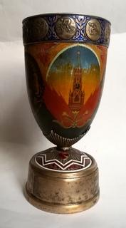 Кубок Кремль Палех Авторская роспись М. Парилов 1953г