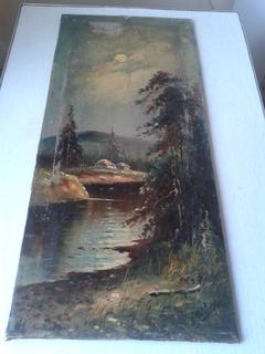 Старинные картины, две морской пейзаж, две лесной.
