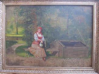 1897 год. Подписная картина 50см*35см. Девушка с кувшином.