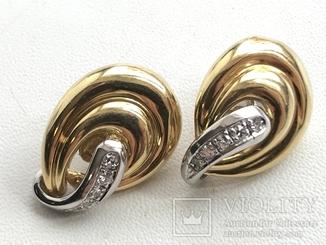 Золотые серьги с бриллиантами Италия