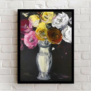 Цветы на черном (масло/оргалит) 40х50 см