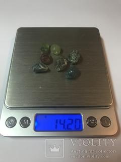 Турмалины природные сырье для огранки 14,20 грамма 71 карат