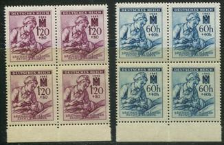 1942 Рейх Богемия и Моравия № 111 - 112 Красный Крест MNH ** полная серия квартблоки