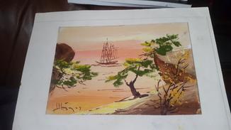 Картина на морскую японскую тему с подписью автора Н.Белоусов
