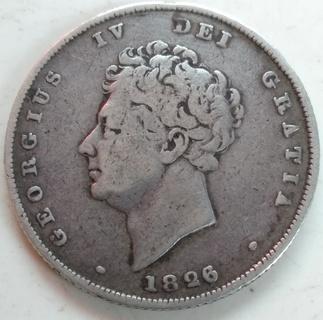 Серебряный шиллинг Георга 4 (1826 года).