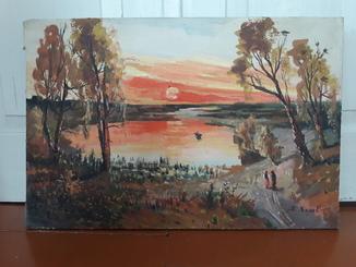 Картина Сельский закат.
