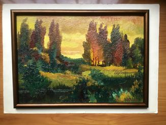 """Картина картон, масло """"Лесной пейзаж"""" Полонский Ф. М."""