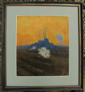 Волошин Г. С., индустриальный пейзаж, г. Днепропетровск 1946 г., картон, масло