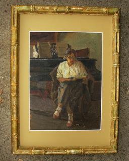 """""""У рояля"""" 1930-е годы., картон, масло, неизвестный художник."""