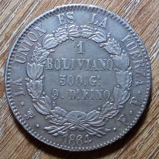 Боливия 1 боливиано 1864 г.