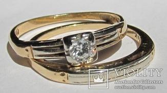Золотое кольцо с бриллиантом и обручальное кольцо – набор