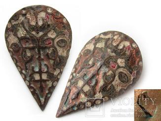 Большая пуговица с эмалью КР, дробница щитовидная , процветший крест крин