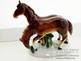 Статуэтка лошадок фарфоровая Графенталь Германия первая половина 20 го века