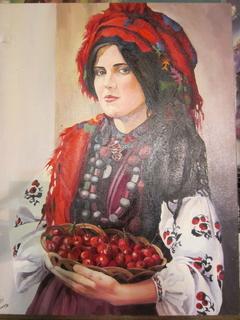 """Картина """"Україночка з вишнями"""", маслом на холсті, 50х40 см. Оригінал"""