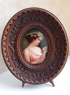 Старинная миниатюра, живопись на фарфоре, C&A Schwicker